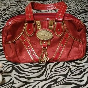 South Pole red handbag with blue lining